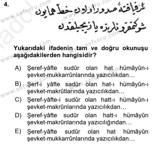 Osmanlı Türkçesi Metinleri 2 Dersi 2017 - 2018 Yılı (Final) Dönem Sonu Sınav Soruları 4. Soru