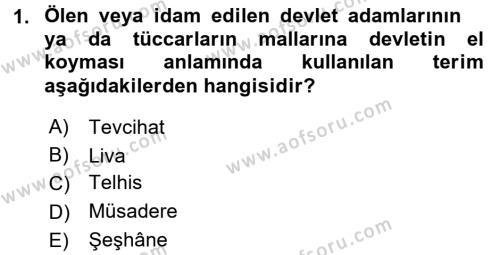 Osmanlı Yenileşme Hareketleri (1703-1876) Dersi 2015 - 2016 Yılı (Final) Dönem Sonu Sınav Soruları 1. Soru