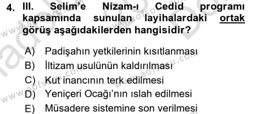 Osmanlı Yenileşme Hareketleri (1703-1876) Dersi 2015 - 2016 Yılı (Final) Dönem Sonu Sınav Soruları 4. Soru