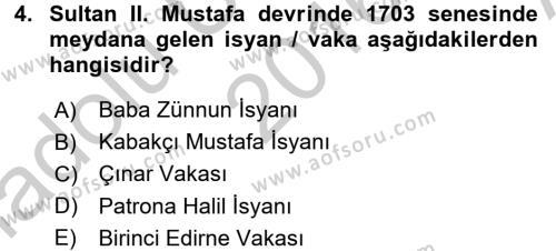 Osmanlı Yenileşme Hareketleri (1703-1876) Dersi 2016 - 2017 Yılı Ara Sınavı 4. Soru