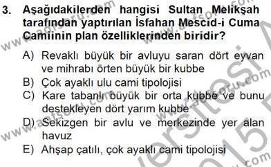 Mimarlik Tarihi Dersi 2014 - 2015 Yılı Ara Sınavı 3. Soru