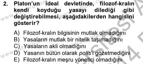 Kamu Yönetimi Bölümü 4. Yarıyıl Siyasi Düşünceler Tarihi Dersi 2014 Yılı Bahar Dönemi Ara Sınavı 2. Soru