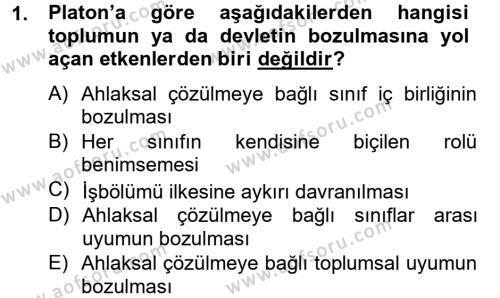 Siyasi Düşünceler Tarihi Dersi 2013 - 2014 Yılı Dönem Sonu Sınavı 1. Soru