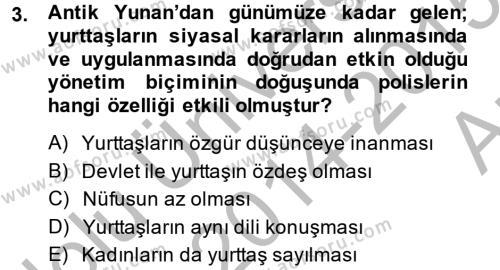 Kamu Yönetimi Bölümü 4. Yarıyıl Siyasi Düşünceler Tarihi Dersi 2015 Yılı Bahar Dönemi Ara Sınavı 3. Soru