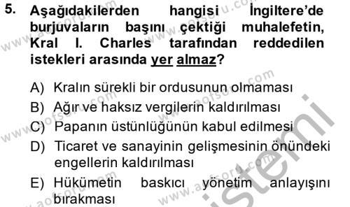Kamu Yönetimi Bölümü 4. Yarıyıl Siyasi Düşünceler Tarihi Dersi 2015 Yılı Bahar Dönemi Dönem Sonu Sınavı 5. Soru