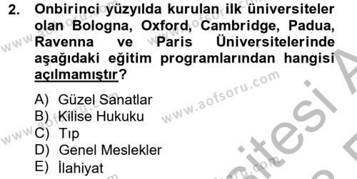 Bilim ve Teknoloji Tarihi Dersi 2012 - 2013 Yılı Ara Sınavı 2. Soru