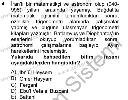 Bilim ve Teknoloji Tarihi Dersi 2012 - 2013 Yılı Ara Sınavı 4. Soru