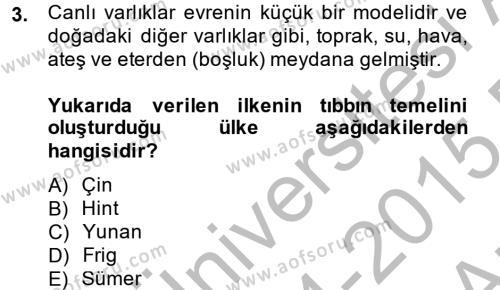 Bilim ve Teknoloji Tarihi Dersi 2014 - 2015 Yılı Ara Sınavı 3. Soru