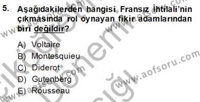 Tarih Bölümü 7. Yarıyıl Yakınçağ Avrupa Tarihi Dersi 2015 Yılı Güz Dönemi Ara Sınavı 5. Soru