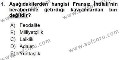 Tarih Bölümü 7. Yarıyıl Yakınçağ Avrupa Tarihi Dersi 2016 Yılı Güz Dönemi Ara Sınavı 1. Soru