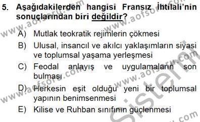 Tarih Bölümü 7. Yarıyıl Yakınçağ Avrupa Tarihi Dersi 2016 Yılı Güz Dönemi Ara Sınavı 5. Soru