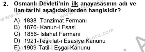 Türkiye Cumhuriyeti Siyasî Tarihi Dersi 2012 - 2013 Yılı (Vize) Ara Sınav Soruları 2. Soru
