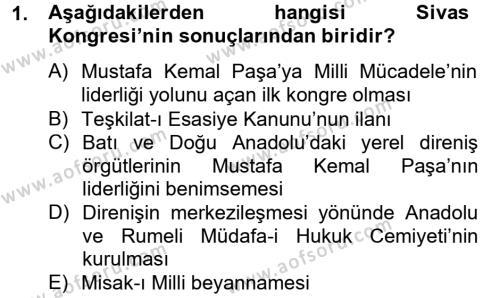 Türkiye Cumhuriyeti Siyasî Tarihi Dersi 2012 - 2013 Yılı Dönem Sonu Sınavı 1. Soru