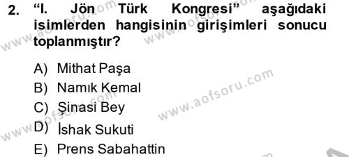 Türkiye Cumhuriyeti Siyasî Tarihi Dersi 2013 - 2014 Yılı Ara Sınavı 2. Soru
