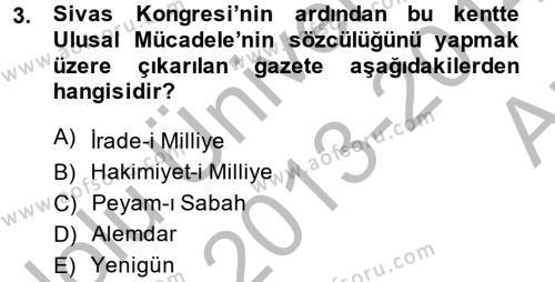 Türkiye Cumhuriyeti Siyasî Tarihi Dersi 2013 - 2014 Yılı Ara Sınavı 3. Soru