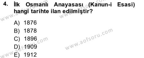 Türkiye Cumhuriyeti Siyasî Tarihi Dersi 2013 - 2014 Yılı Ara Sınavı 4. Soru