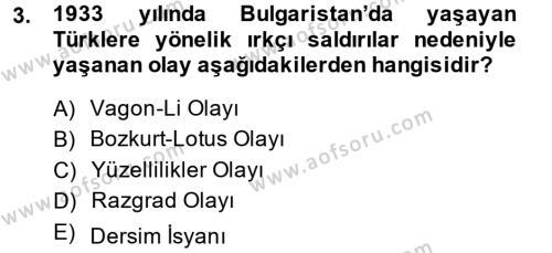 Türkiye Cumhuriyeti Siyasî Tarihi Dersi 2013 - 2014 Yılı Dönem Sonu Sınavı 3. Soru