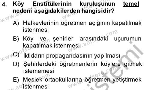 Türkiye Cumhuriyeti Siyasî Tarihi Dersi 2013 - 2014 Yılı Dönem Sonu Sınavı 4. Soru