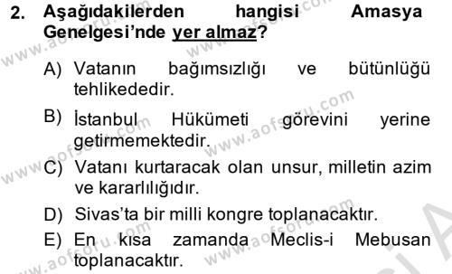 Türkiye Cumhuriyeti Siyasî Tarihi Dersi 2013 - 2014 Yılı Tek Ders Sınav Soruları 2. Soru