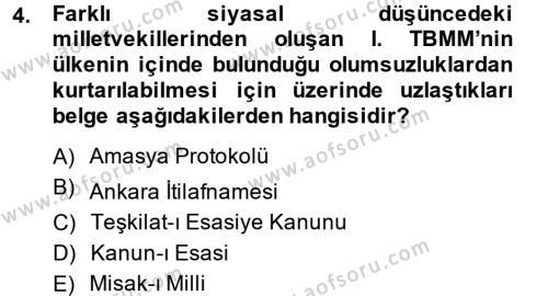 Türkiye Cumhuriyeti Siyasî Tarihi Dersi 2013 - 2014 Yılı Tek Ders Sınav Soruları 4. Soru