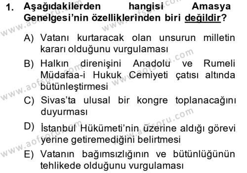 Türkiye Cumhuriyeti Siyasî Tarihi Dersi 2014 - 2015 Yılı Ara Sınavı 1. Soru