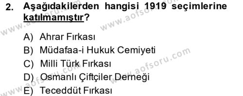 Türkiye Cumhuriyeti Siyasî Tarihi Dersi 2014 - 2015 Yılı Ara Sınavı 2. Soru