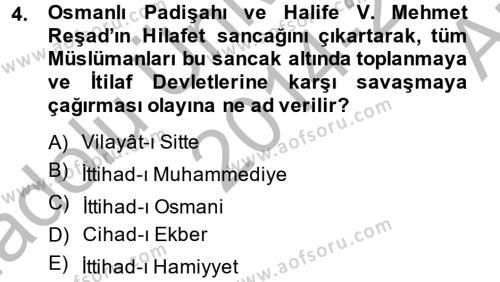 Türkiye Cumhuriyeti Siyasî Tarihi Dersi 2014 - 2015 Yılı Ara Sınavı 4. Soru