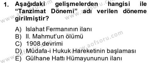 Türkiye Cumhuriyeti Siyasî Tarihi Dersi 2014 - 2015 Yılı Dönem Sonu Sınavı 1. Soru
