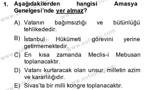 Türkiye Cumhuriyeti Siyasî Tarihi Dersi 2014 - 2015 Yılı Tek Ders Sınav Soruları 1. Soru