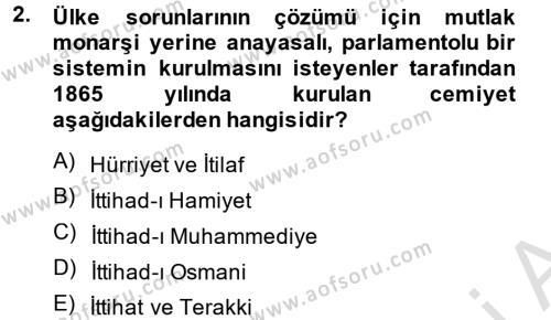 Türkiye Cumhuriyeti Siyasî Tarihi Dersi 2014 - 2015 Yılı Tek Ders Sınav Soruları 2. Soru