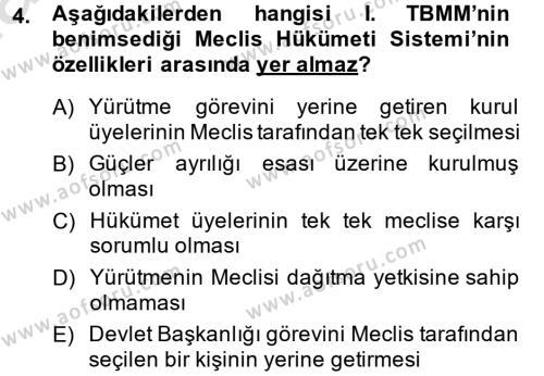 Türkiye Cumhuriyeti Siyasî Tarihi Dersi 2014 - 2015 Yılı Tek Ders Sınav Soruları 4. Soru