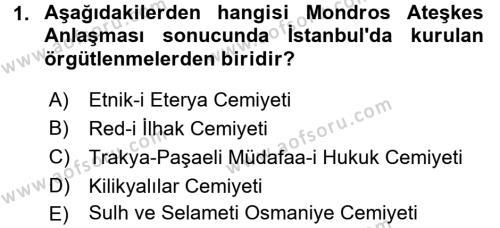 Türkiye Cumhuriyeti Siyasî Tarihi Dersi 2015 - 2016 Yılı Ara Sınavı 1. Soru