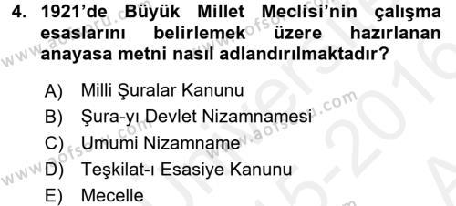 Türkiye Cumhuriyeti Siyasî Tarihi Dersi 2015 - 2016 Yılı Ara Sınavı 4. Soru