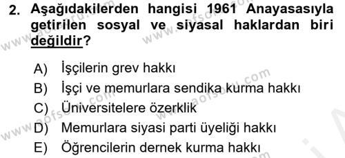 Türkiye Cumhuriyeti Siyasî Tarihi Dersi 2015 - 2016 Yılı Tek Ders Sınav Soruları 2. Soru