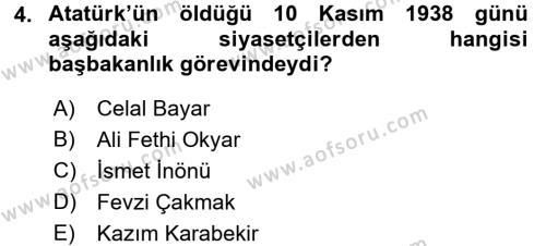 Türkiye Cumhuriyeti Siyasî Tarihi Dersi 2015 - 2016 Yılı Tek Ders Sınav Soruları 4. Soru
