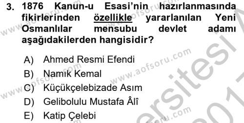 Türkiye Cumhuriyeti Siyasî Tarihi Dersi 2016 - 2017 Yılı 3 Ders Sınavı 3. Soru