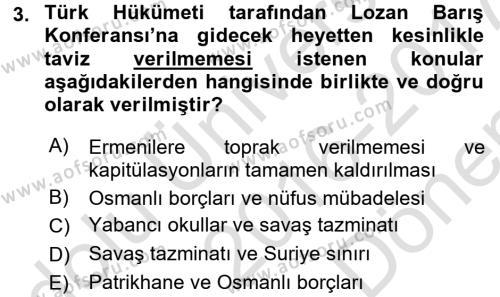 Türkiye Cumhuriyeti Siyasî Tarihi Dersi 2016 - 2017 Yılı (Final) Dönem Sonu Sınav Soruları 3. Soru