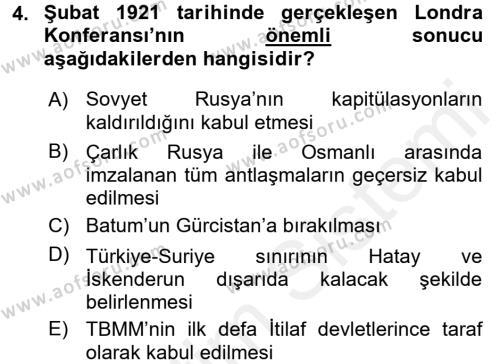 Türkiye Cumhuriyeti Siyasî Tarihi Dersi 2017 - 2018 Yılı Ara Sınavı 4. Soru