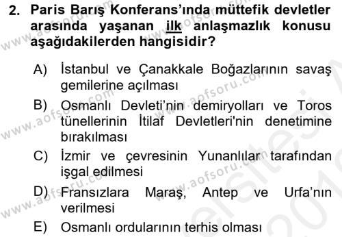 Türkiye Cumhuriyeti Siyasî Tarihi Dersi 2018 - 2019 Yılı (Vize) Ara Sınav Soruları 2. Soru