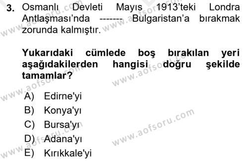 Türkiye Cumhuriyeti Siyasî Tarihi Dersi 2018 - 2019 Yılı (Vize) Ara Sınav Soruları 3. Soru