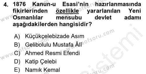 Türkiye Cumhuriyeti Siyasî Tarihi Dersi 2018 - 2019 Yılı (Vize) Ara Sınav Soruları 4. Soru