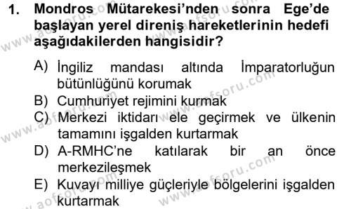 Tarih Bölümü 6. Yarıyıl Türkiye Cumhuriyeti Siyasî Tarihi Dersi 2013 Yılı Bahar Dönemi Ara Sınavı 1. Soru