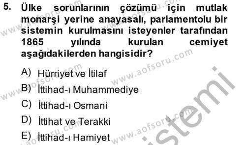 Tarih Bölümü 6. Yarıyıl Türkiye Cumhuriyeti Siyasî Tarihi Dersi 2014 Yılı Bahar Dönemi Ara Sınavı 5. Soru