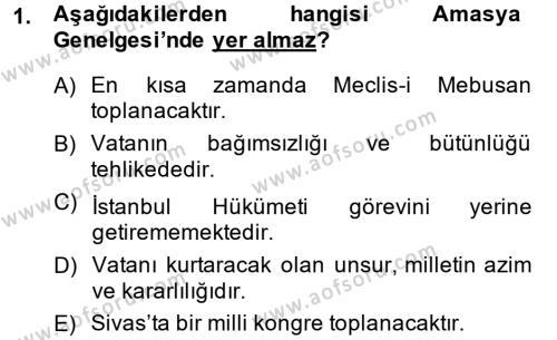 Tarih Bölümü 6. Yarıyıl Türkiye Cumhuriyeti Siyasî Tarihi Dersi 2014 Yılı Bahar Dönemi Dönem Sonu Sınavı 1. Soru