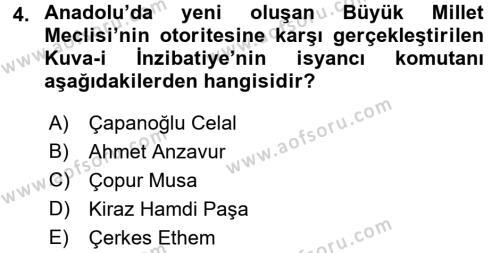 Tarih Bölümü 6. Yarıyıl Türkiye Cumhuriyeti Siyasî Tarihi Dersi 2016 Yılı Bahar Dönemi Dönem Sonu Sınavı 4. Soru