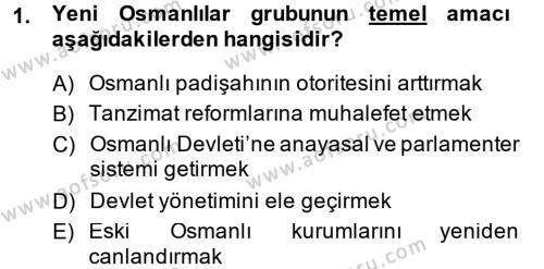 Tarih Bölümü 5. Yarıyıl Osmanlı Tarihi (1876–1918) Dersi 2015 Yılı Güz Dönemi Ara Sınavı 1. Soru