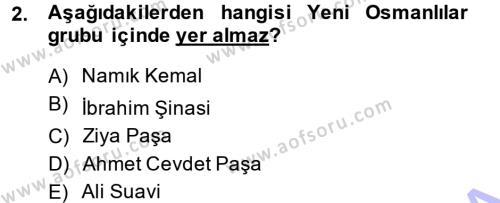 Tarih Bölümü 5. Yarıyıl Osmanlı Tarihi (1876–1918) Dersi 2015 Yılı Güz Dönemi Ara Sınavı 2. Soru