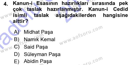 Tarih Bölümü 5. Yarıyıl Osmanlı Tarihi (1876–1918) Dersi 2016 Yılı Güz Dönemi Ara Sınavı 4. Soru