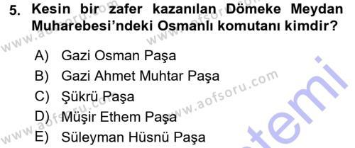 Tarih Bölümü 5. Yarıyıl Osmanlı Tarihi (1876–1918) Dersi 2016 Yılı Güz Dönemi Dönem Sonu Sınavı 5. Soru