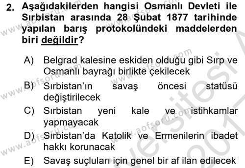 Osmanlı Tarihi (1876–1918) Dersi 2016 - 2017 Yılı (Vize) Ara Sınav Soruları 2. Soru